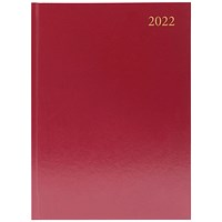 Desk Diary Day Per Page A4 Burgundy 2022