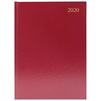 2020 Diary A4, Week to View, Burgundy