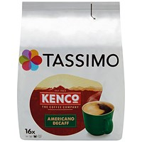 Tassimo Kenco Decaffeinated Coffee Pods (Pack of 16)