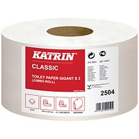 Katrin Mini Jumbo Toilet Roll 2-Ply 61mm Core Refill (Pack of 12) 2504