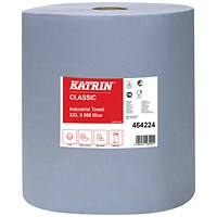 Katrin Classic Industrial Hand Towel Roll 3-Ply Blue 500 Sheets (Pack of 2) 464224