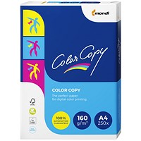Color Copy A4 Super Smooth Premium Copier Paper, White, 160gsm Ream (250 Sheets)
