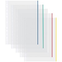 Coloured Edge A4 Punched Pockets, 50 micron, Pack of 100