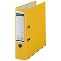 Leitz A4 Lever Arch Files, Plastic, 80mm Spine, Yellow, Pack of 10