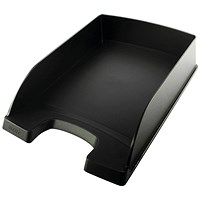 Leitz High-Sided Letter Tray with Extra Label Space - Black