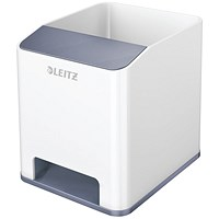 Leitz WOW Sound Booster Pen Holder White/Grey