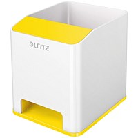 Leitz WOW Sound Pen Holder Dual Colour White/Yellow