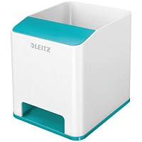 Leitz WOW Sound Pen Holder Dual Colour White/Ice Blue
