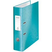 Leitz WOW A4 Lever Arch Files, 80mm Spine, Ice Blue, Pack of 10
