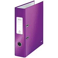 Leitz WOW A4 Lever Arch Files, 80mm Spine, Purple, Pack of 10