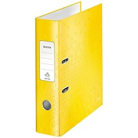 Leitz 180 WOW Lever Arch File A4 80mm Yellow (Pack of 10)