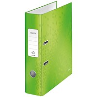 Leitz 180 WOW Lever Arch File A4 80mm Green (Pack of 10) 10050054