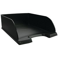 Leitz Letter Tray Plus, Deep-sided with 2 Label Positions, Black