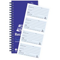 Challenge Wirebound Duplicate Receipt Book, 4 Sets per Page, 200 Receipts, Ref: 100080056