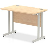 Impulse 1000mm Rectangular Desk, Silver Legs, Maple