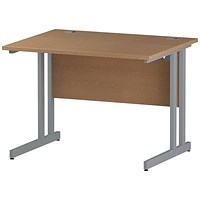 Impulse 1000mm Rectangular Desk, Silver Legs, Oak