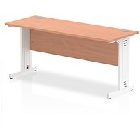 Impulse 1600mm Slim Rectangular Desk, Cable Managed White Legs, Beech