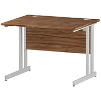Impulse 1000mm Rectangular Desk, White Legs, Walnut