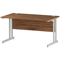 Impulse 1400mm Rectangular Desk, White Legs, Walnut