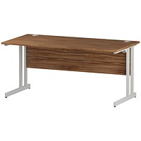 Impulse 1600mm Rectangular Desk, White Legs, Walnut