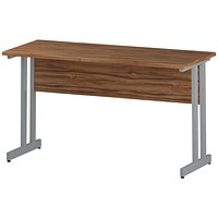 Impulse 1400mm Slim Rectangular Desk, Silver Legs, Walnut
