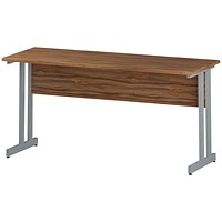 Impulse 1600mm Slim Rectangular Desk, Silver Legs, Walnut