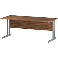 Impulse 1800mm Slim Rectangular Desk, Silver Legs, Walnut