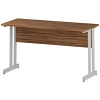 Impulse 1400mm Slim Rectangular Desk, White Legs, Walnut