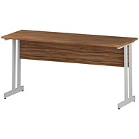 Impulse 1600mm Slim Rectangular Desk, White Legs, Walnut