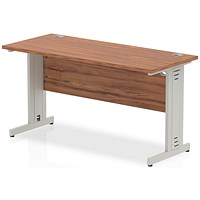 Impulse 1400mm Slim Rectangular Desk, Cable Managed Silver Legs, Walnut