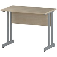 Impulse 1000mm Slim Rectangular Desk, Silver Legs, Maple