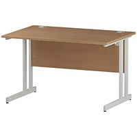 Impulse 1200mm Rectangular Desk, White Legs, Oak