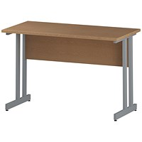 Impulse 1200mm Slim Rectangular Desk, Silver Legs, Oak