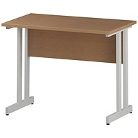 Impulse 1000mm Slim Rectangular Desk, White Legs, Oak