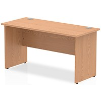 Impulse 1400mm Slim Rectangular Desk, Panel Legs, Oak