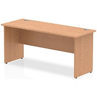 Impulse 1600mm Slim Rectangular Desk, Panel Legs, Oak