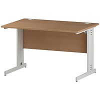 Impulse 1200mm Rectangular Desk, Cable Managed White Legs, Oak