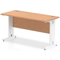 Impulse 1400mm Slim Rectangular Desk, Cable Managed White Legs, Oak
