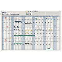 Mark-It Perpetual Year Planner, Laminated With Repositionable Date Strips, 900x600mm