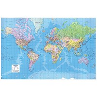 Map Marketing World Map 3D Effect Giant Unframed 315 Miles to 1 inch Scale W1840xH1200mm