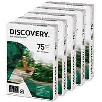 Discovery A4 Everyday Paper, White, 75gsm, Box (5 x 500 Sheets)