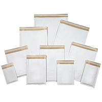 Mail Lite Bubble Lined Postal Bag, White, Assorted Sizes, Pack of 50