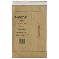 Mail Lite Padded Postal Bag Size D/1 181x273mm Brown (Pack of 100) 100943477