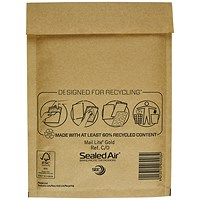 Mail Lite Bubble-Lined Postal Bag, 150x210mm, Peel & Seal, Gold, Pack of 100