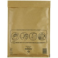 Mail Lite Bubble-Lined Postal Bag, 240x330mm, Peel & Seal, Gold, Pack of 50