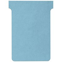 Nobo T-Cards 160gsm Tab Top 15mm W92x Bottom W80x Full H120mm Size 3 Light Blue Ref 2003006 [Pack 100]