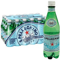 San Pellegrino Sparkling Natural Mineral Water 500ml Bottles (Pack of 24)
