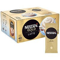 Nescafe Latte Instant Coffee, One Cup Sachets - Pack of 40