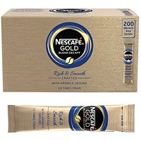 Nescafe Gold Blend Instant Decaffeinated Coffee Sachet Sticks - Pack of 200