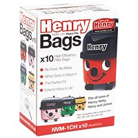 Henry Hoover replacement bags, Fit all sizes of Henry Hetty Harry and James - Pack of 10